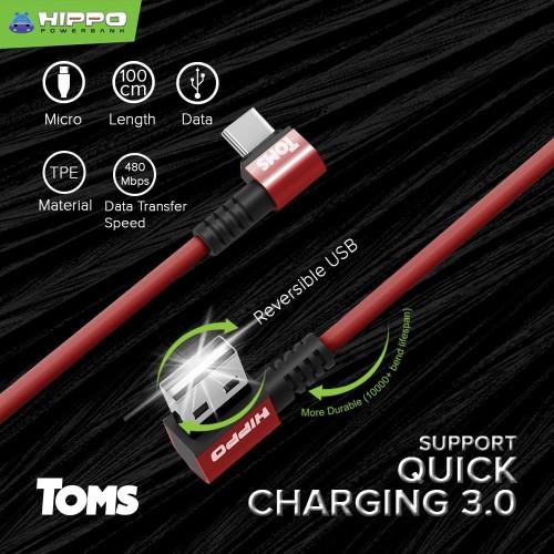 Foto Produk Hippo TOMS Kabel data gaming USB TYPE C Fast Quick Charging - Abu-abu dari Hippo Official Store