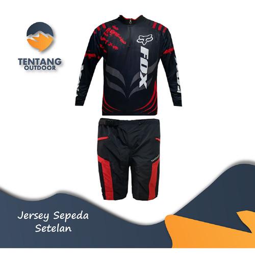 Foto Produk Jersey Sepeda Gowes Motor Cross Roadbike Setelan Celana I052 - Baju Hitam M, Celana M dari TentangOutdoor