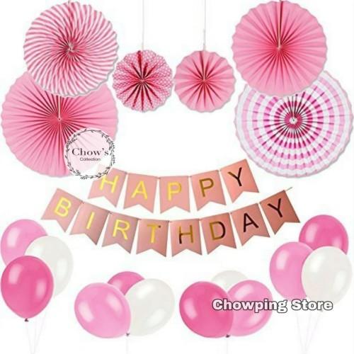 Foto Produk Paket Dekorasi Hiasan Balon Ulang Tahun / Happy Birthday Pink 01 dari Chowping Store