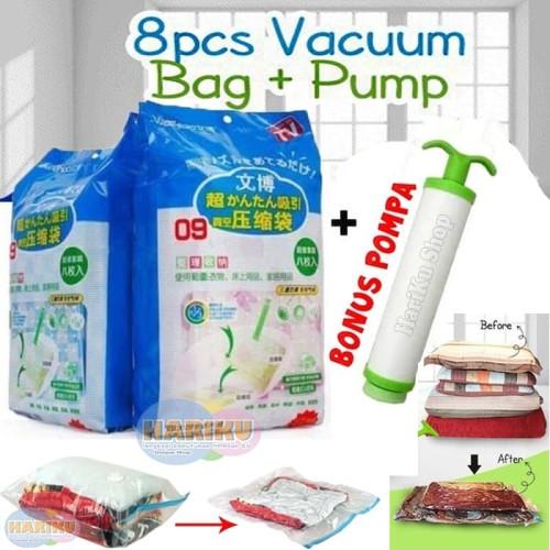 Foto Produk Vacuum Bag Jumbo isi 8 + FREE Pompa / Plastic Vakum Bag Travel - X478 dari HARIKU Shop
