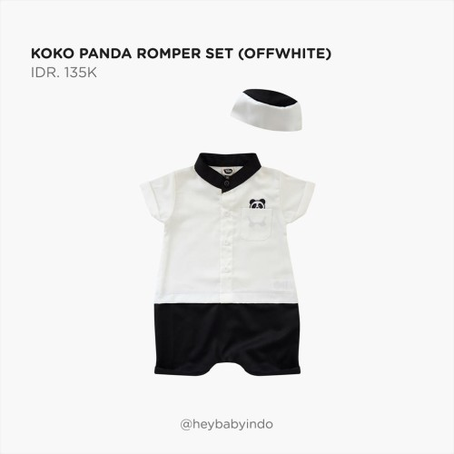 Foto Produk Hey Baby Koko Romper Panda - Off White, 12-18m dari Hey! Baby