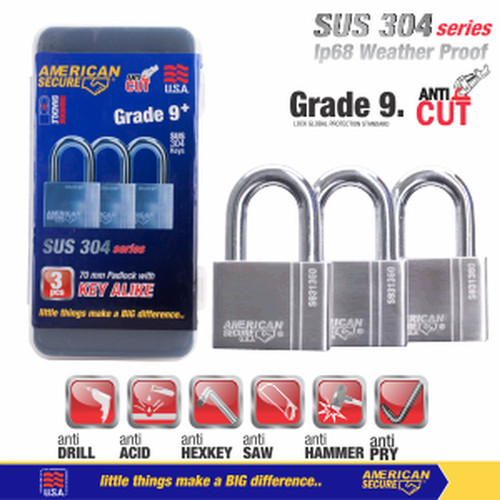 Foto Produk Gembok Key Alike 70mm x 3Pcs American Secure S931370K3 dari Teknik Mandiri indo