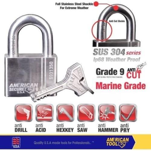 Foto Produk Gembok American Secure 50mm Pendek Marine Grade S931350MG dari Teknik Mandiri indo