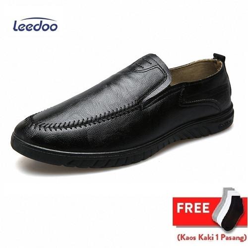 Foto Produk Leedoo Sepatu Slip On Pria Bahan Kulit Sepatu Casual Import MC404 - Hitam, 40 dari Leedoo