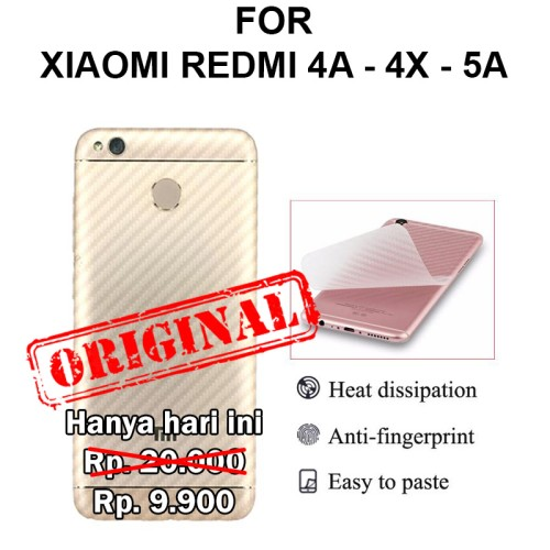 Foto Produk Skin carbon Xiaomi Redmi 4A - 4X - 5A garskin anti gores body belakang - 4x dari Casing handphone murah