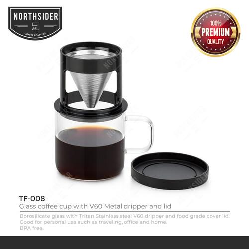 Foto Produk V60 GLASS COFFEE CUP 300ML WITH METAL DRIPPER - FT-008 - ALAT KOPI dari Northsider coffee shop