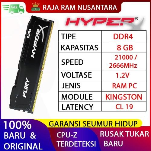 Foto Produk RAM KINGSTON HYPERX FURY DDR4 8GB 2666MHz 21300 GAMING RAM PC DDR4 8GB dari RAJA RAM NUSANTARA