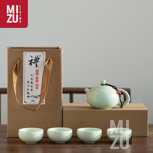 Foto Produk OOLONG Classic Chinese Tea Pot Teko SET 4 Cups Ceramic Gift Box - O-Spout, Putih dari MIZU Living