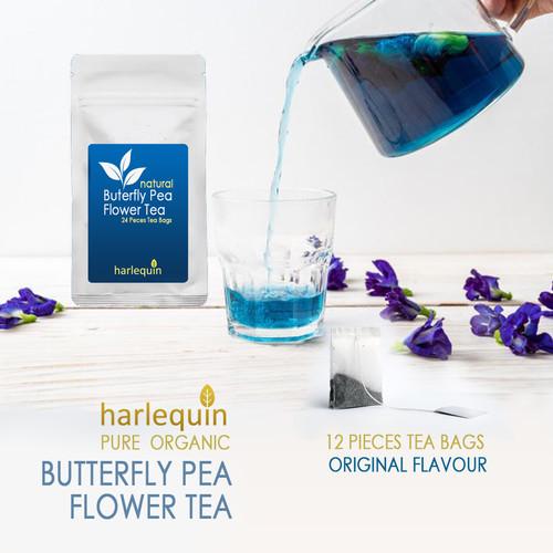 Foto Produk Teh Biru Celup Isi 12 Butterfly Pea flowers Tea - Bunga Telang dari Harlequin Herb