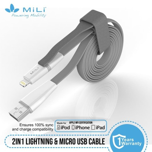 Foto Produk MiLi / Data Cable 2in1 USB Micro dan Ligthning 8 pin MFI - Hijau dari Mili Official Store