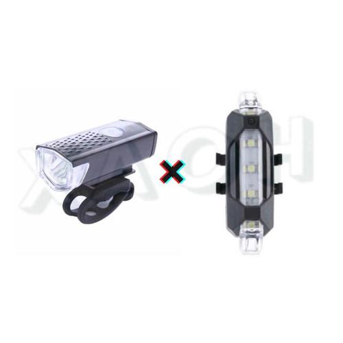 Foto Produk Lampu Sepeda Depan Belakang LED Rechargeable USB - Set - Putih dari XAOH