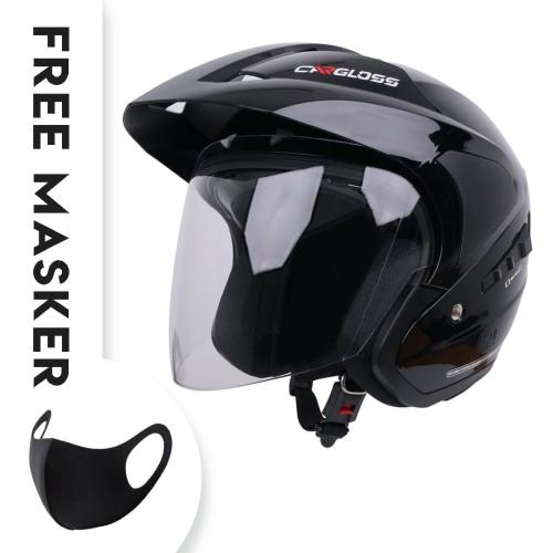 Foto Produk Helm Cargloss YD CR Double Visor half face - Deep Black - L dari Helm Cargloss