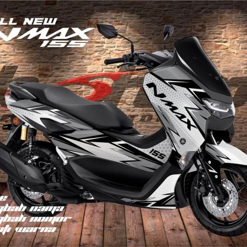 Foto Produk Decal Yamaha All New NMAX Sticker Variasi Abu-abu putih dari stripingnation