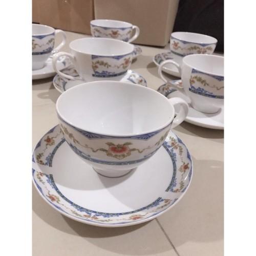 Foto Produk Gelas Keramik Motif Bung - dengan List Biru - harga 1 set (isi 6) dari Sam At Home