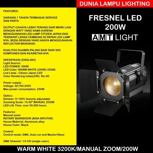 Foto Produk Fresnel led 200W Manual Focus AMT LIGHT. Warm White 3200K dari DUNIA LAMPU LIGHTING