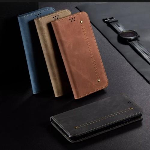 Foto Produk Flip OPPO F7 ORIGINAL Cover Case Retro Jeans kulit Denim dari Dunia Acesories phone