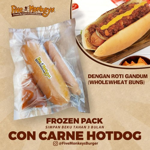 Foto Produk Con Carne Hotdog with Wheat Bun (Frozen Hotdog) dari Five Monkeys Burger