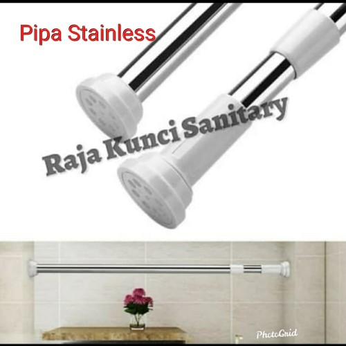 Foto Produk Tiang Shower Curtain Lurus/Tiang Curtain/Tirai Kamar Mandi Stainless dari Raja Kunci Sanitary