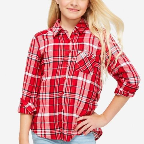 Foto Produk Justice - Snuggle Soft Embellished Pocket Plaid Shirt - Lollipop - Lollipop, 6 dari Justice Official Store