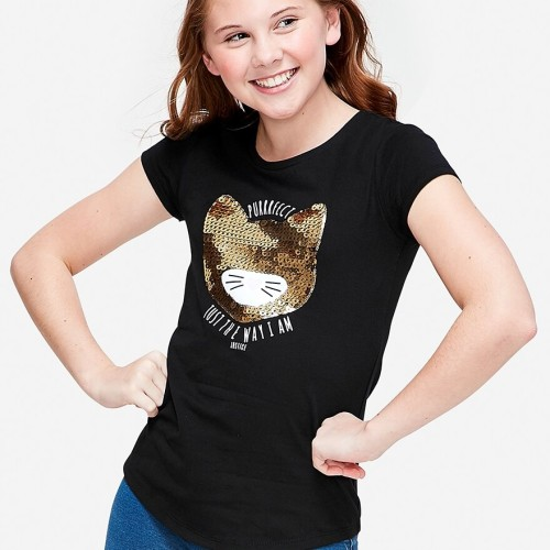 Foto Produk Justice - Purrfect Sequin Cat Graphic Tee - Black - Black, 6 dari Justice Official Store