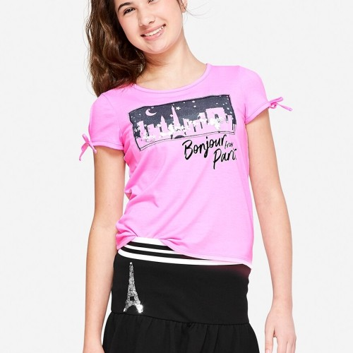 Foto Produk Justice - Shaky Glitter Destination Top - Baby Pink Poly - Baby Pink Poly, 6 dari Justice Official Store