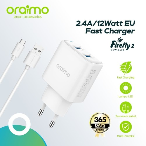Foto Produk Oraimo Firefly 2 Ports Quick Fast Power Charger OCW-E63D dari Oraimo_indonesia