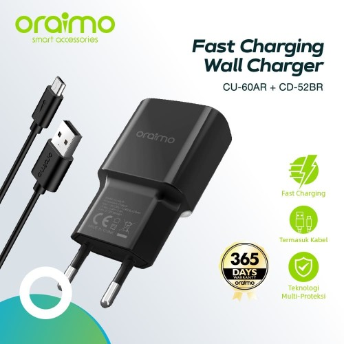 Foto Produk Oraimo 2A Europe Charger Kit CU-60AR+CD-52BR dari Oraimo_indonesia