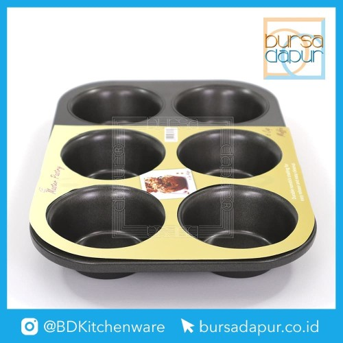 Foto Produk Bursa Dapur Master Pastry Non-Stick Loyang 6 Cup Muffin Pan dari Bursa Dapur