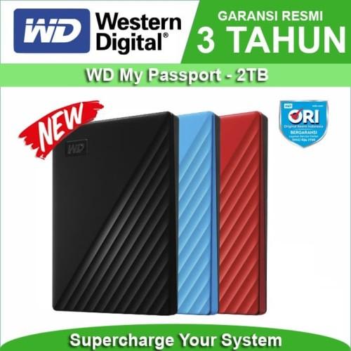 """Foto Produk WD My Passport NEW Model 2TB - HD HDD Hardisk Eksternal External 2.5"""" - Hitam dari Trinity Plaza"""