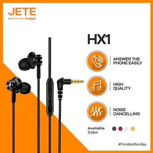 Foto Produk Headset | Handsfree | Earphone JETE HX1 Super Bass - Merah dari JETE Official Surabaya
