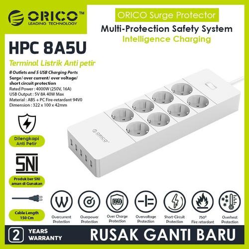 Foto Produk ORICO HPC-8A5U-EU Surge Protector Strip 8-Outlet with 5 USB SuperCharg - Putih dari ORICO INDONESIA