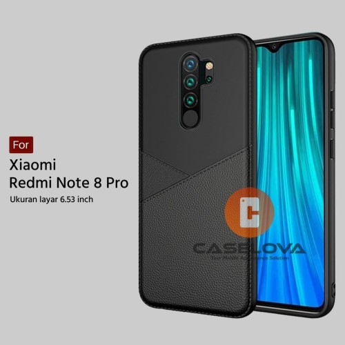 Foto Produk Case Xiaomi Redmi Note 8 PRO Casing Slim Business Leather Pattern - Hitam dari Caselova Store