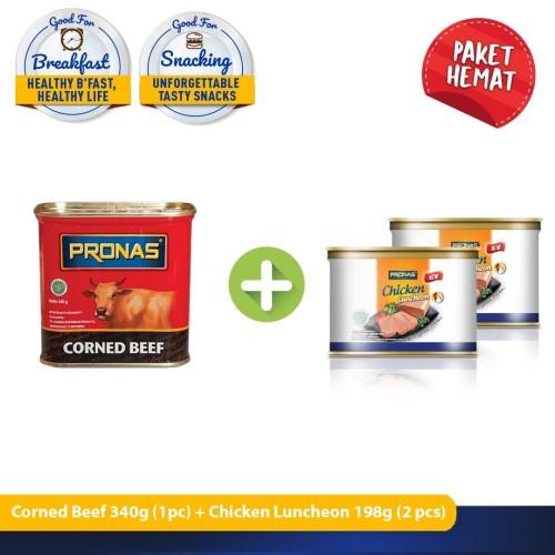 Foto Produk Pronas Kornet Sapi 340 g dan Luncheon Ayam 198 g bundling 3 pcs dari Pronas Official Store