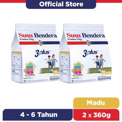 Foto Produk Susu Bendera 3+ Susu Bubuk Anak 4-6 Tahun Madu 360g [2 pcs] dari Susu Bendera Store