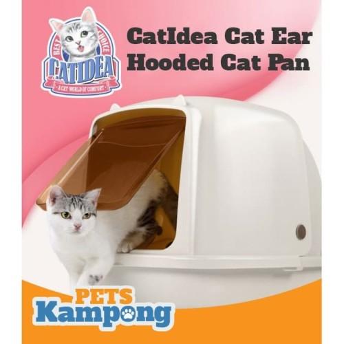 Foto Produk Bak pasir kucing hooded besar CatIdea CatEars Hooded cat litter pan dari Pets Kampong