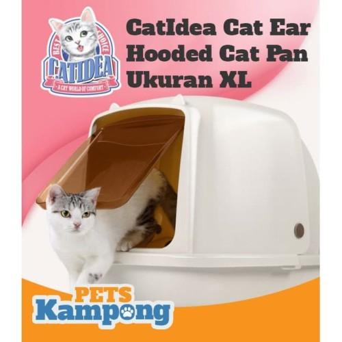 Foto Produk Bak pasir kucing hooded XL CatIdea CatEars Hooded cat litter pan XL dari Pets Kampong