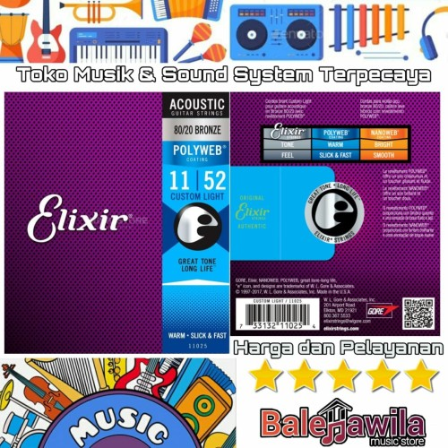 Foto Produk ELIXIR 11025 POLYWEB Coating Senar Gitar Elixir Original Akustik 11 dari TIPTOP MUSIK&SOUNDSYSTEM