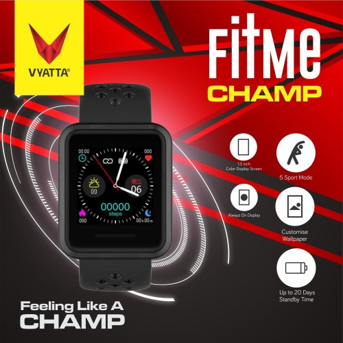 Foto Produk VYATTA Fitme CHAMP Smartwatch - Custom Watch Faces, Metal, Sport - Hitam dari VYATTA INDONESIA