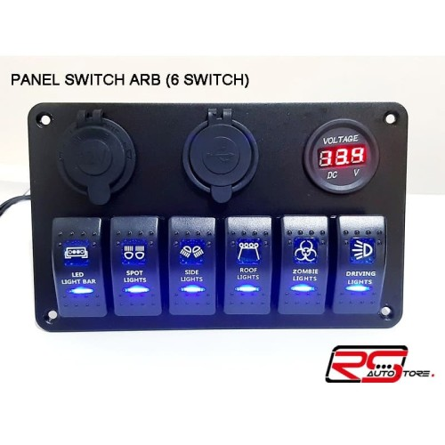 Foto Produk PANEL SWITCH ARB / SWITCH OFF ROAD 6 SWITCH - USB CHARGER - LIGHTER dari RS-Autostore