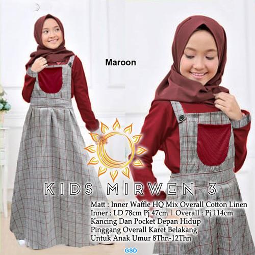 Foto Produk Gamis Overall Anak Tanggung/Baju Muslim Anak Perempuan-kids mirwen - Maroon dari www.grosirdress.com