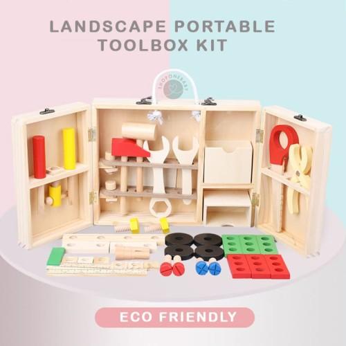 Foto Produk Landscape Portable Toolbox Kit Wooden Toys Mainan Edukatif Kayu Anak dari onebaby