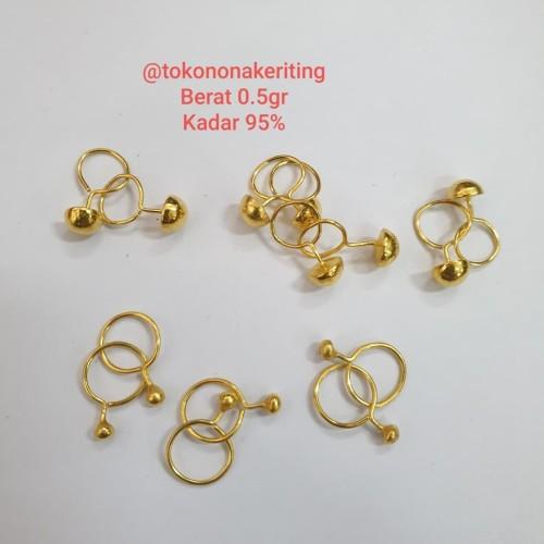 Foto Produk Anting pentol toge bayi anak emas asli 950 24k 24 karat 0,5gram dari Nona Keriting