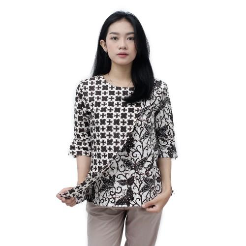 Foto Produk Batik Wanita Blouse Atasan Modern / S-M-L-XL-XXL-3L-4L-5L - S dari BATIK DUA PUTRI
