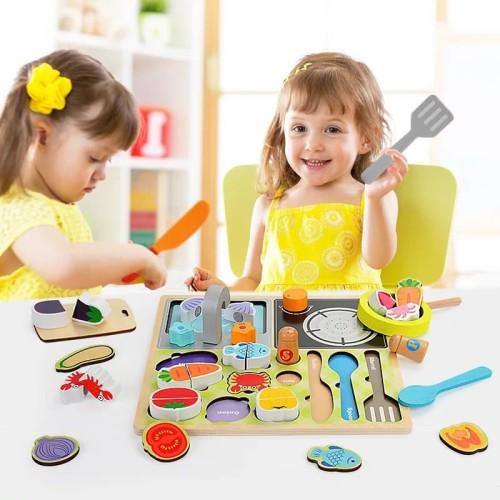 Foto Produk Mainan Puzzle Potong Sayur dan Masak ~ WOODEN PUZZLE KITCHEN COOKING dari lovely kayy