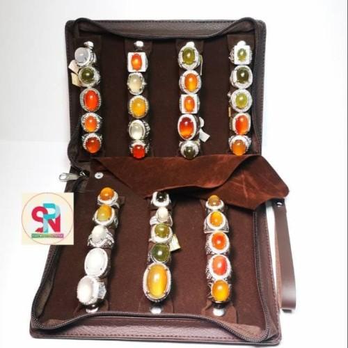Foto Produk Tas cincin kulit batu akik dan permata 7slot spn0450 dari Sinar Permata Nusantara