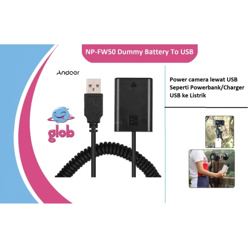Foto Produk NP-FW50 Battery Dummy DC Adapter To USB 5V 2A (Power bank) Sony Camera dari Glob Shop