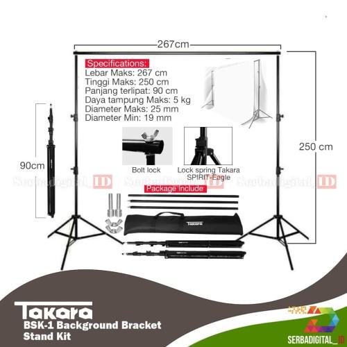 Foto Produk TAKARA BSK-1 Backdrop/Background Bracket Stand Kit Studio dari serbadigital-id