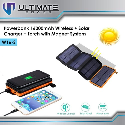 Foto Produk Ultimate Power W2 Powerbank Solar + Wireless Charger + LED Torch 10000 - Orange dari Ultimate Power Official