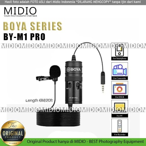 Foto Produk BOYA BY-M1 PRO Clip On Mic Microphone for Camera Smartphone PC dari Midio