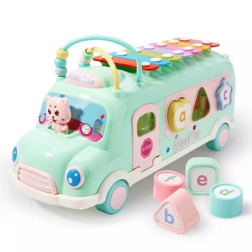 Foto Produk Mainan PUZZLE Anak dengan bentuk Mobil BUS disertai XYLOPHONE 3 in 1 - Mint Green dari lovely kayy
